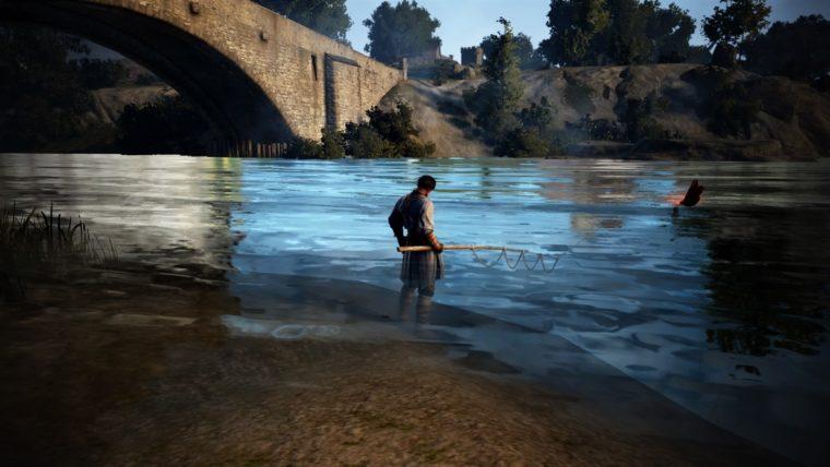 橋のたもとで釣りをする人