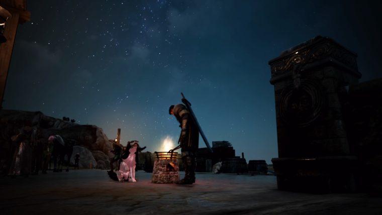 満天の星空の下で加工する人