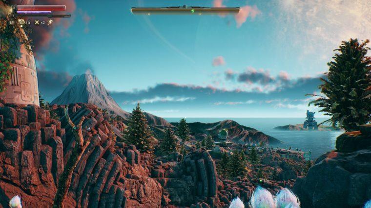 宇宙船を降りると美しい景色