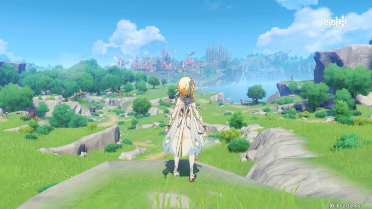 原神、遠くに街が見える美しい風景