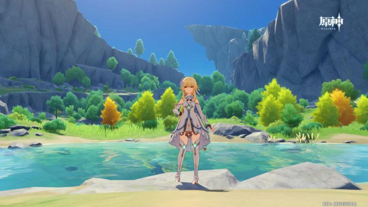 原神、綺麗な湖を背景にしたスクリーンショット